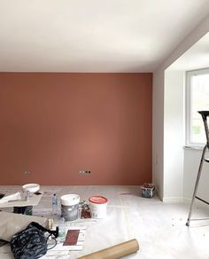 Peinture de la marque Farrow and Ball red. Red Earth wandfarbe farrow and ball Mur Terracotta Home, House Rooms, Cheap Home Decor, Bedroom Interior, Home Room Design, Home Remodeling, Interior, House Interior, Remodel Bedroom