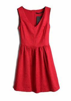 Red Pleated Zipper V-neck Sleeveless Wrap Lace Dress