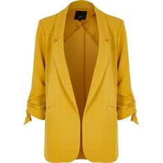 8cf58735a4d River Island Yellow ruched three quarter sleeve blazer (€97) ❤ liked on  Polyvore