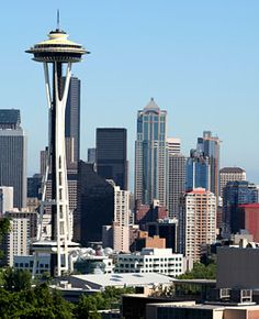 Space Needle, Seattle    Description: Built for the 1962 World's Fair, the 605-foot-tall structure offers 360-degree views of the Seattle skyline and Mt. Rainier, the Cascades, and the Olympic Mountain range in the distance.