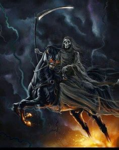 Grim Reaper And Fire Horse Grim Reaper Art, Don't Fear The Reaper, Dark Fantasy Art, Fantasy World, Dark Art, Fire Horse, Horsemen Of The Apocalypse, Arte Horror, Ghost Rider