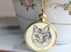 Fox Necklace Vintage Faux Scrimshaw Statement by SirensSoul, $17.00