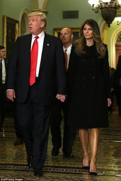 Political duties: President-elect Donald Trump and future First Lady Melania traveled to Washington, D.C. on Thursday
