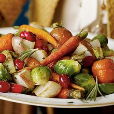 Cranberry Roasted Winter Vegetables Recipe Side Dishes with carrots, turnips, brussels sprouts, fresh rosemary, olive oil, salt, pepper, frozen cranberries, molasses