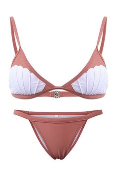 Fashion Shell Design Strappy Bikini Set In Pink