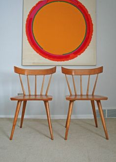 2 mid century modern paul mccobb planner group dining chairs