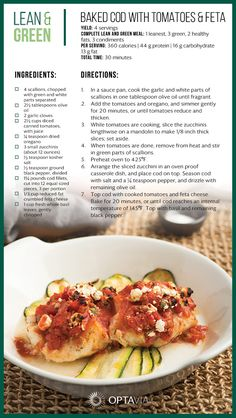 This baked Cod Lean and Green recipe is light and airy and full of robust flavors. Stacey Hawkins Roasted Garlic Oil will be the perfect combination f Medifast Recipes, Cod Recipes, Fish Recipes, Seafood Recipes, Low Carb Recipes, Cooking Recipes, Healthy Recipes, Healthy Foods, Cooking Ideas