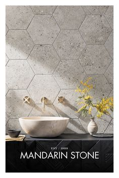 Shop beautiful hexagon tiles in our New Collections. At Mandarin Stone you'll find a wide choice of patterns and styles. Buy online Downstairs Bathroom, Laundry In Bathroom, Family Bathroom, Bathroom Design Inspiration, Bathroom Interior Design, Mandarin Stone, Laundry Decor, Hexagon Tiles, Modern Shower
