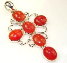$55.25 Natural Carnelian Cross Sterling Silver Pendant at www.SilverRushStyle.com #pendant #handmade #jewelry #silver #carnelian