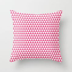 triangles - hot pink and white Throw Pillow by Her Art - $20.00