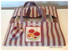 Porta torta in cotone a righe bordò con appliquè dolcetti, by fattoamanodaTati, 20,00 € su misshobby.com