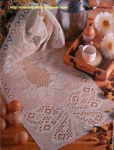Croche maravilha de arte: Lindo caminho de mesa...com gráfico