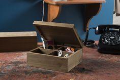 Boîte à couvercle compartimentée, en bois « Vintage »