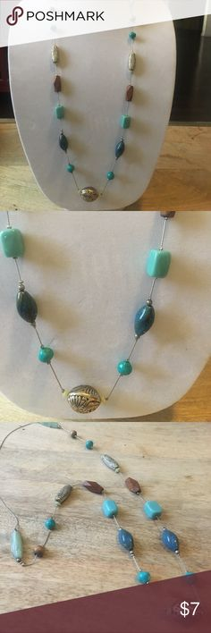 Long Single Strand Necklace Beautiful wooden and blue stone and silver beads on a single silver chain. Jewelry Necklaces