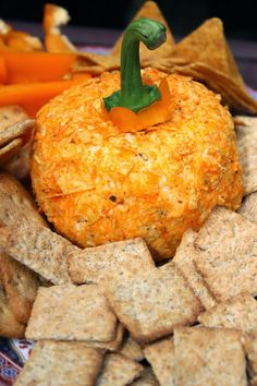 Pumpkin shaped Cheese ball! #halloween #appetizer #cheese