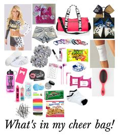 """""""What's in my cheer bag"""" by kittylovecute ❤ liked on Polyvore featuring Asics, Victoria's Secret PINK, Eos, Amici Accessories, Fantasia, Sony, Forever Collectibles, Elemis, scunci and H&M"""