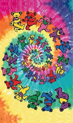 Lose yourself for hours in this fantastic Grateful Dead poster! A trippy tie-dye swirl of lovable Dancing Bears! Check out the rest of our excellent selection of Grateful Dead posters! Need Poster Mounts. Collage Mural, Bedroom Wall Collage, Photo Wall Collage, Picture Wall, Hippie Wallpaper, Trippy Wallpaper, Aesthetic Iphone Wallpaper, Aesthetic Wallpapers, Retro Wallpaper Iphone