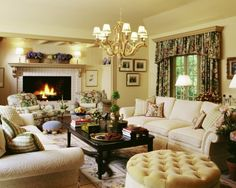 (Set up of the sofas, chairs and ottoman around the fireplace.  Great coffee table. English Cottage Decorating ideas | COTTAGE DECORATING IDEAS II / English Country Design