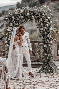 Boho Luxe Wedding Mallorca Finca Commasemma www. Delicate Wedding Dress, Luxe Wedding, Boho Wedding Dress, Trendy Wedding, Perfect Wedding, Bridal Dresses, Dream Wedding, Wedding Day, Boho Dress