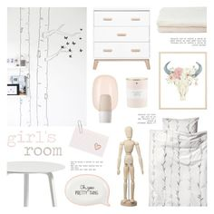 """Girl's Room"" by c-silla ❤ liked on Polyvore featuring interior, interiors, interior design, home, home decor, interior decorating, HAY, H&M, Rifle Paper Co and Foscarini"