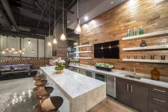 Interior Design: Modern Industrial Kitchen Loft With Wooden Paneling And Open Shelf Ideas Also Marble Island With Wooden Stools And Beautiful Hanging Lighting Fixtures: Beautiful Modern Industrial Loft Design