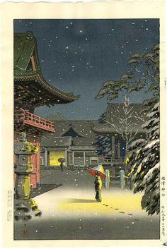 Koitsu, Japanese Woodblock Print, Snow at Nezu Shrine, 1934 Woodcuts Prints, Japanese Art, Japanese Artists, Japanese Woodcut, Painting, Illustration Art, Art, Eastern Art, Prints