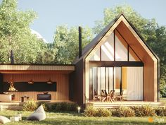 КГ Mulberry Homes, Красиловка — Дома в коттеджных поселках — ЛУН Modern Wooden House, Modern Barn House, Modern House Design, Scandinavian Architecture, Scandinavian Home, Architecture Design, A Frame House Plans, Gable House, House Extension Design