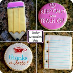 Teacher appreciation cookies with a pencil, 'keep calm and teach on', 'thanks a latte', and notebook paper