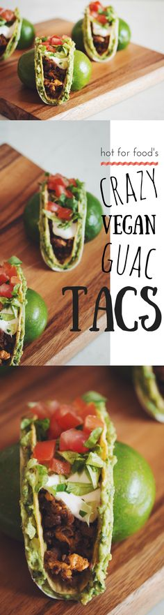how to make double-decker guacamole tacos or crazy vegan guac tacs, like they call them on Portlandia! Vegan Dinner Recipes, Veggie Recipes, Mexican Food Recipes, Whole Food Recipes, Vegetarian Recipes, Cooking Recipes, Healthy Recipes, Burrito Recipes, Vegan Lunches