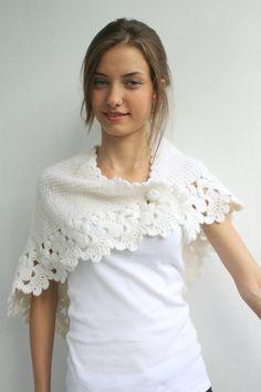 White Capelet Shawl Gift under 75 for Bridal Wedding by denizgunes