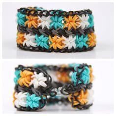 "Double Starburst Rainbow Loom Bracelet ""Teal & Mac"""