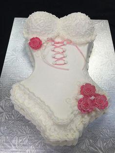 Alternate view of lingerie cake #whitebuttercream #lingerie #bustier #edibleglitter