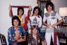 Scottish rock band 'The Bay City Rollers' pose for a portrait in October, 1975 in Los Angeles, California. (L-R) Leslie Mckeown, Stuart 'Woody' Wood, Alan Longmuir, Eric Faulkner and Derek Longmuir (bottom).