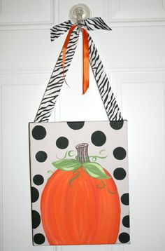 Personalized Autumn Pumpkin Fall Canvas by MustLoveArtStudio, $29.99