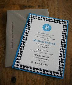 Academy letterpress Bar Mitzvah invitation by @Dauphine Press