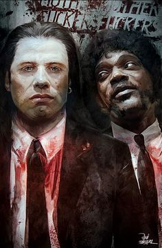 Quentin Tarantino - Pulp Fiction - Vincent Vega and Jules Winnfield Arte Do Pulp Fiction, Creation Art, Kino Film, Amazing Street Art, Film Serie, Cultura Pop, Urban Art, Good Movies, Pop Culture