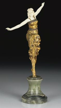PAUL PHILIPPE |  'RUSSIAN DANCER', A COLD-PAINTED GILT-BRONZE AND IVORY FIGURE, CIRCA 1925