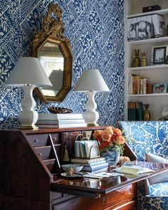 Blue-and-White Decor for Every Room - Flower Magazine Home Office, Office Den, Office Nook, Blue And White Wallpaper, Bamboo Curtains, White Trellis, Elegant Table Settings, Southern Living Homes, Coastal Homes