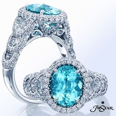 We're dreaming of the clear blue ocean with this stunning one of a kind paraiba and diamond ring.