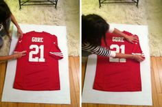 Turned to Design: DIY Framed Jersey would like to do this for Corey and the boys