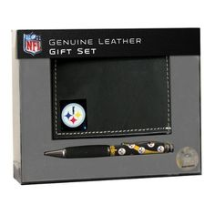 Pittsburgh Steelers TriFold Wallet with Pen Gift Set by Team Sports America. $39.99. Getting a gift for a football fan can be tricky. The NFL® trifold wallet and pen set from Team Sports America is sure to put a smile on your favorite fan's face. The genuine leather wallet is decorated with the full-color team logo, while the pen features the team logo and a comfortable grip.