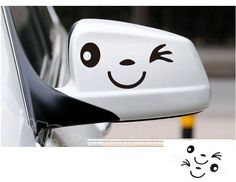 3 Colors Smile Smily Face Car Decal Sticker Smily  Rearview mirror Car Accessories Reflective 1pair $2.99