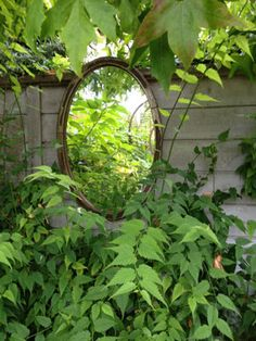 Charming Garden Design for Large Backyard: Unpredictable Classic Style Oval Shaped Mirror To Work With Striped Grey Fencing With Lush Vegetation Surrounding Landscape Architecture, Landscape Design, Garden Art, Garden Design, Garden Mirrors, Large Backyard, Traditional Landscape, Garden Features, My Secret Garden
