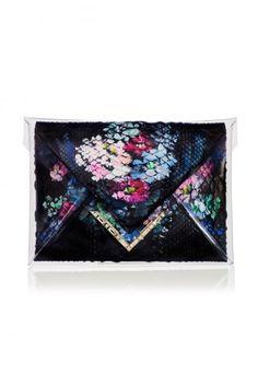 #Clutch a busta nera con fiori - Borse #Marchesa Primavera Estate 2014 #bags #bag