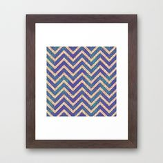 Blue and Green Texture-Look Chevron  Framed Art Print
