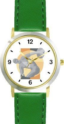 Picture of The Greek Discus Thrower (Discobolus) by Myron - WATCHBUDDY® DELUXE TWO-TONE THEME WATCH - Arabic Numbers - Green Leather Strap-Size-Children's Size-Small ( Boy's Size & Girl's Size ) WatchBuddy. $49.95