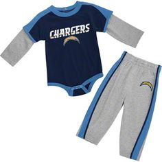 San Diego Chargers Infant Long Sleeve T-Shirt & Cargo Pants Set - Powder Blue/Navy Blue