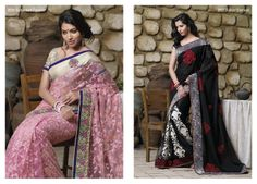 Spectacular light pink color net saree with golden border & brocat blouse piece...  &...  This excellent black color net  saree with chiffon material pallu looks beautiful with its elegant red patches & resham work.