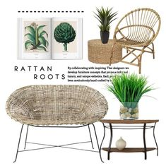 """""""Rattan Roots"""" by conch-lady ❤ liked on Polyvore featuring interior, interiors, interior design, home, home decor, interior decorating, Steve Silver, Bloomingville, Broste Copenhagen and plants"""