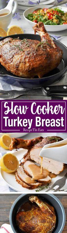 Juicy Slow Cooker Turkey Breast - 5 minutes prep for the juiciest turkey breast…